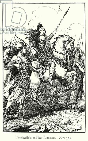 The Iliad: Penthesileia and her Amazons (engraving)