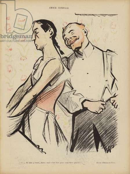 Conjugal love. Illustration for Le Rire (colour litho)