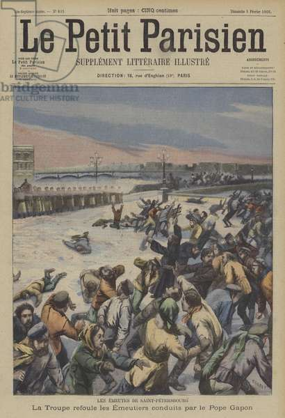 Bloody Sunday, St Petersburg (colour litho)