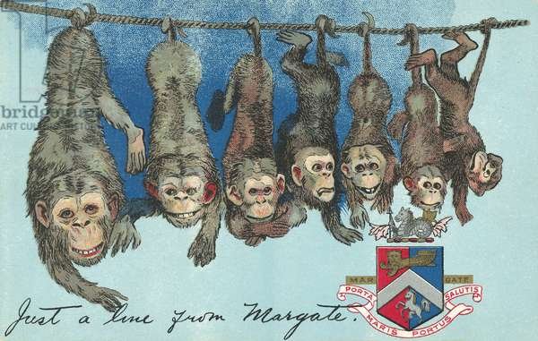 Monkeys hanging from a rope by their tails, greetings from Margate, Kent (chromolitho)