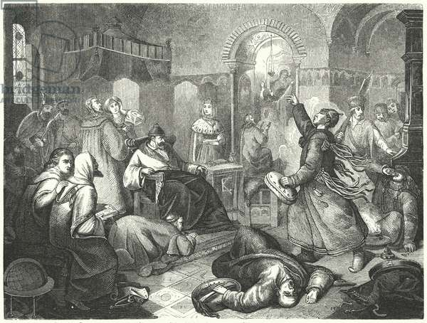 A Finnish sorcerer foretelling the imminent death of Ivan the Terrible (engraving)