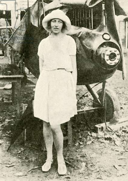 Amy Johnson after the mishap at Insein, Burma 1932 (b/w photo)