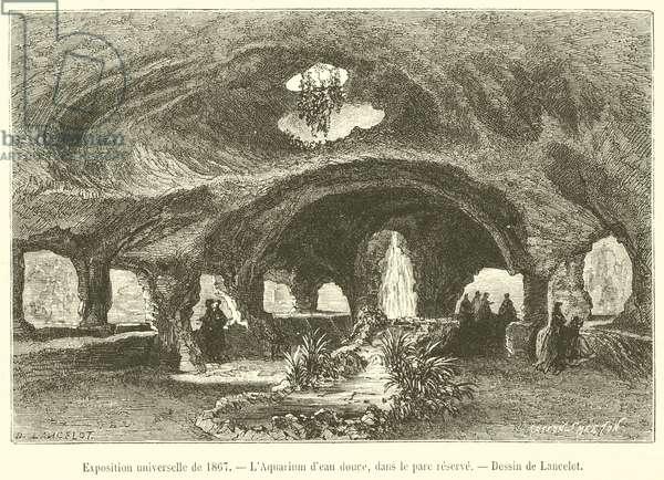 Exposition universelle de 1867, L'Aquarium d'eau douce, dans le parc reserve (engraving)