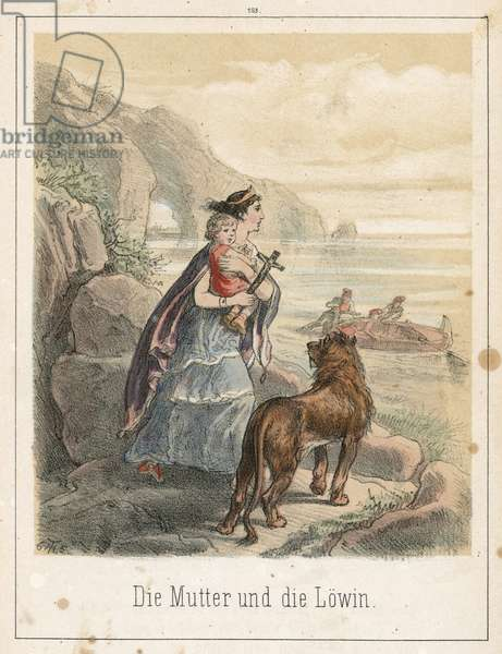 The mother and the lion (coloured engraving)
