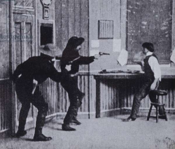 Scene from The Great Train Robbery, one of the earliest Hollywood Western films, 1903 (b/w photo)