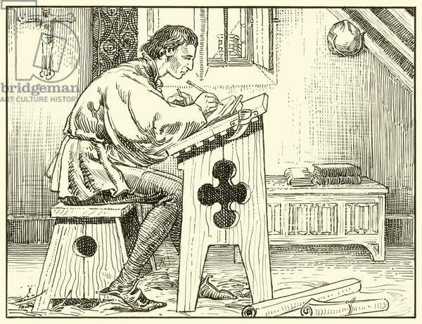 William Evesham Writing (ink on paper)