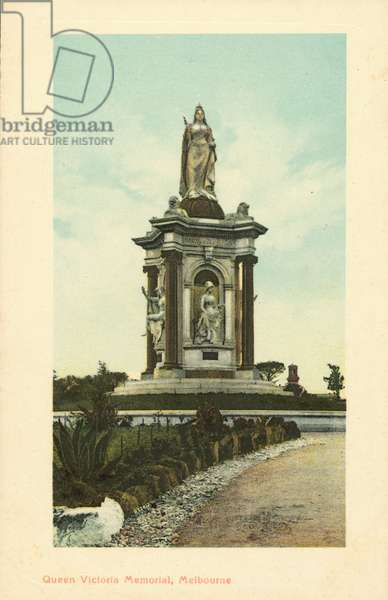 Queen Victoria Memorial, Melbourne, Victoria, Australia (colour litho)
