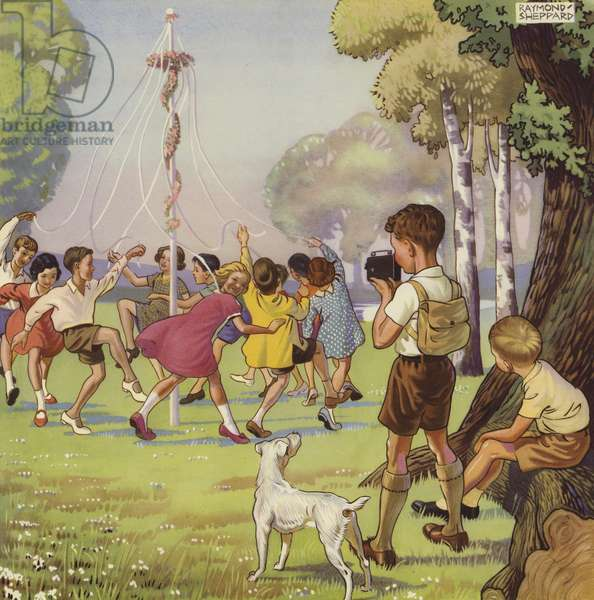 Boy filming children dancing around a May Pole (colour litho)