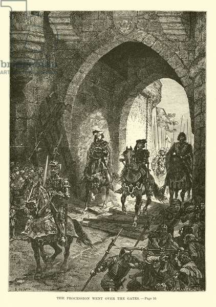 The procession went over the gates (engraving)