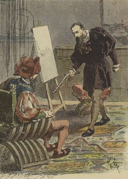 Italian painter Tintoretto approaching Pietro Aretino, armed with a pistol, to take his measurements for his portrait, 16th Century (colour litho)