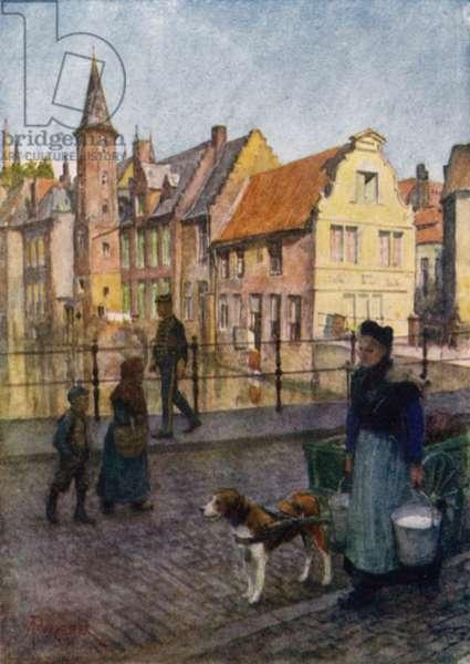 Bruges, Belgium (colour litho)