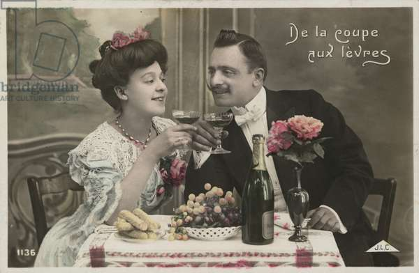 Couple drinking champagne (colour photo)