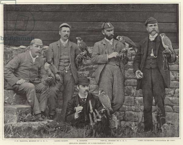 Members of the Old Hawking Club (b/w photo)