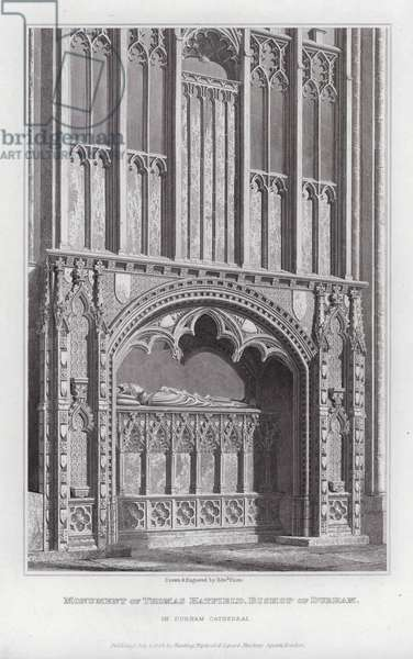 Monument of Thomas Hatfield, Bishop of Durham, in Durham Cathedral (engraving)