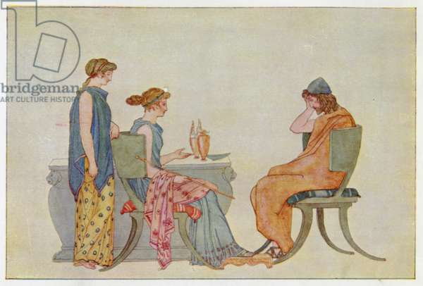 Ulysses at the Table of Circe (colour litho)