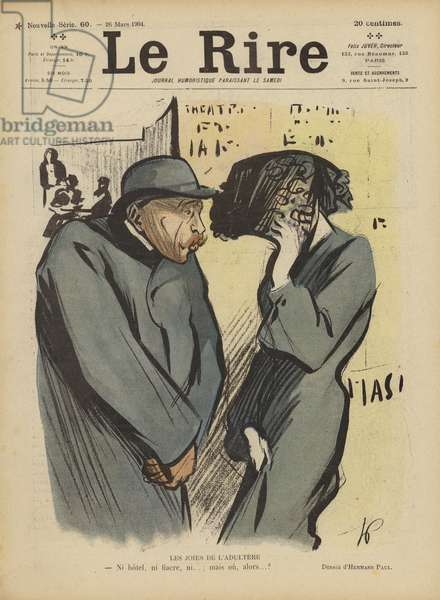 The joys of adultery. Illustration for Le Rire (colour litho)