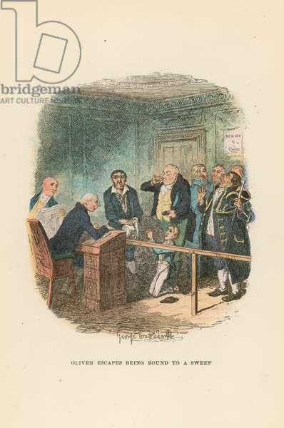 Illustration for Oliver Twist (colour litho)