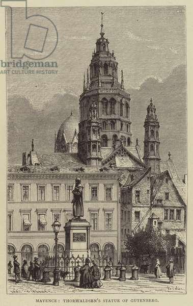Mayence, Thorwaldsen's Statue of Gutenberg (engraving)