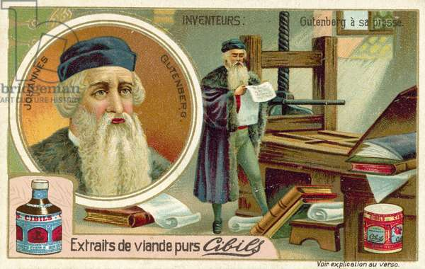 Johannes Gutenberg - inventor of the printing press (chromolitho)