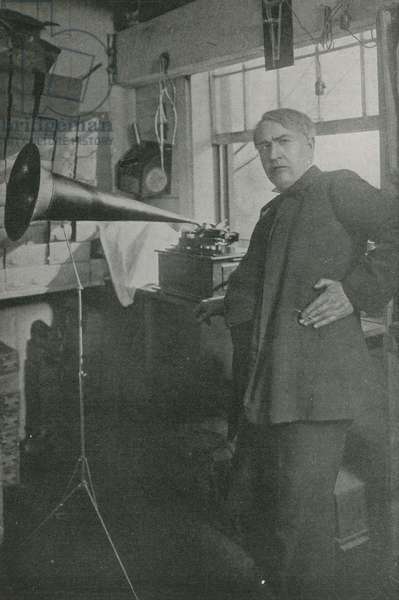 Thomas Edison in his workshop (b/w photo)