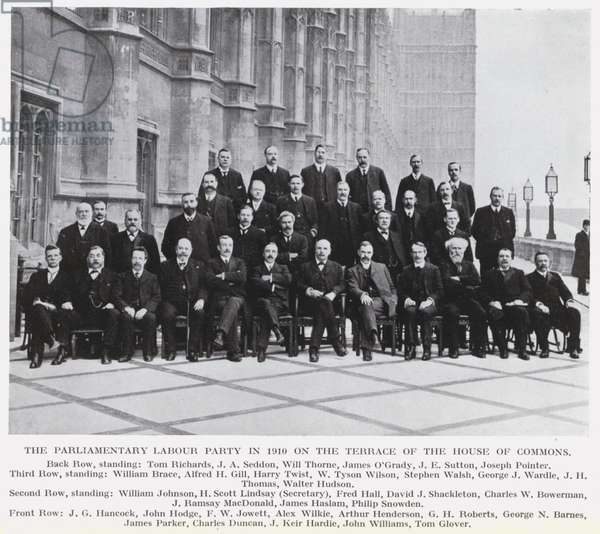 The Parliamentary Labour Party in 1910 on the Terrace of the House of Commons (b/w photo)