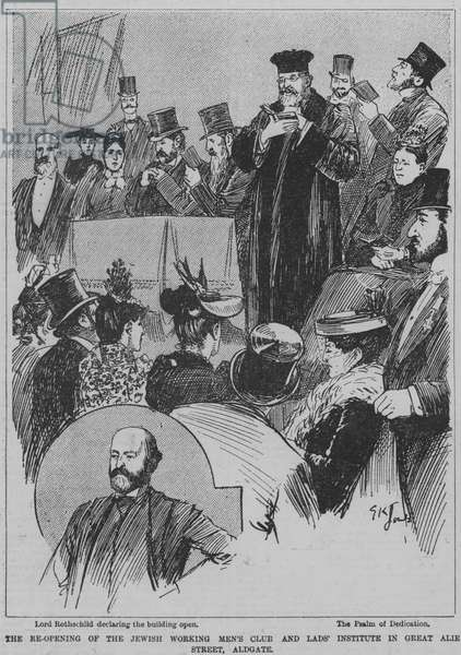 Re-opening of the Jewish Working Men's Club and Lads' Institute in Great Alie Street, Aldgate, London, 1891 (engraving)