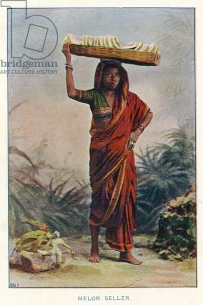 Indian Natives: Melon Seller (coloured photo)