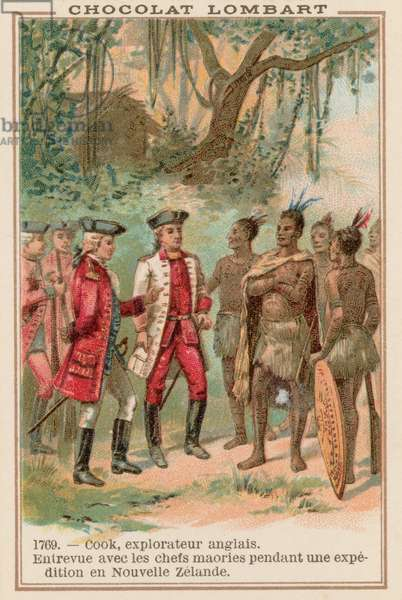 Captain James Cook meeting with Maori chiefs in New Zealand, 1769 (chromolitho)