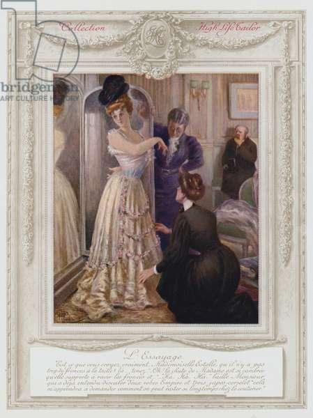 Belle Epoque Paris, Fashionable lady, trying on a dress (colour litho)