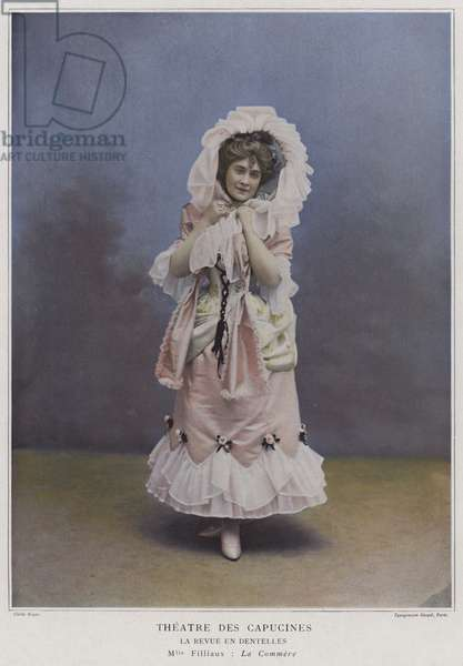 Mademoiselle Filliaux as La Commere in La Revue des Dentelles (coloured photo)