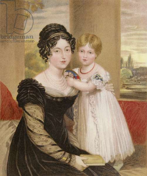 The Duchess of Kent and the Princess Victoria at the age of two (chromolitho)