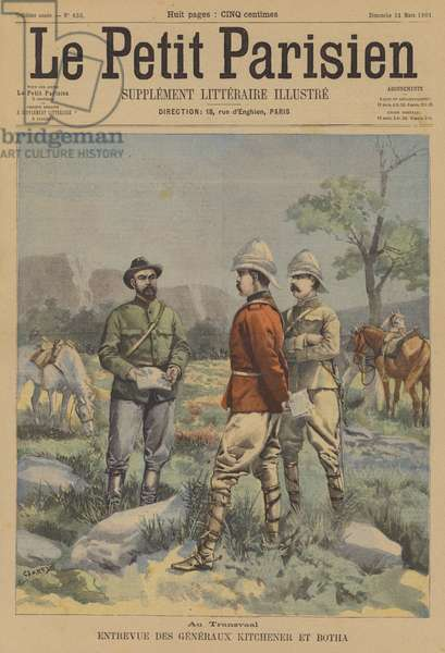 Meeting between Generals Kitchener and Botha in the Transvaal (colour litho)