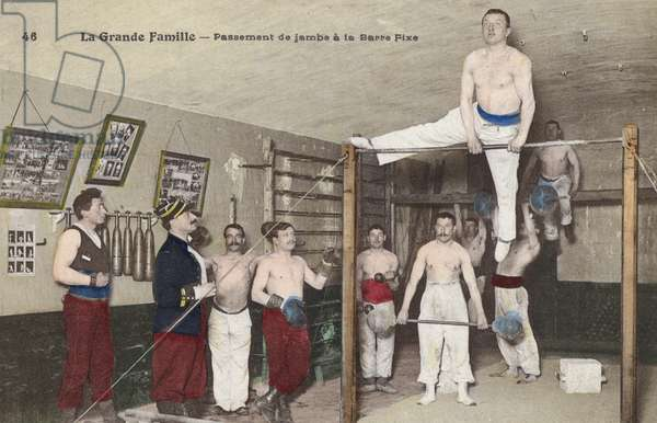Scene in a gymnasium (colour litho)