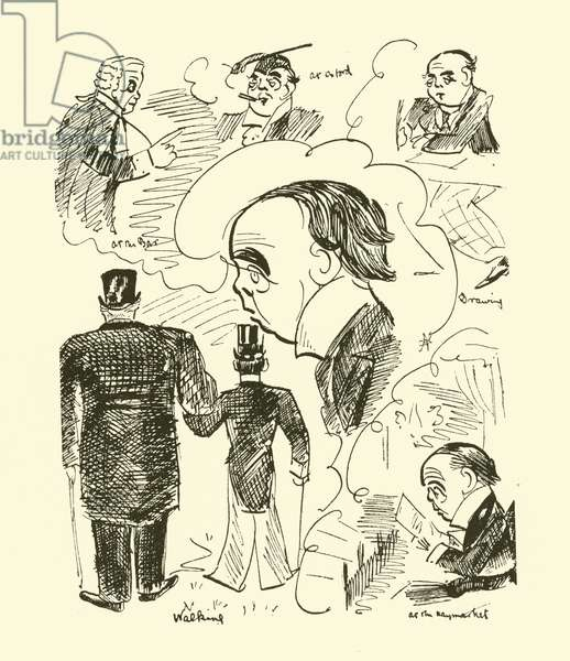 Self-caricatures by Max Beerbohm when at Charterhouse (lithograph)