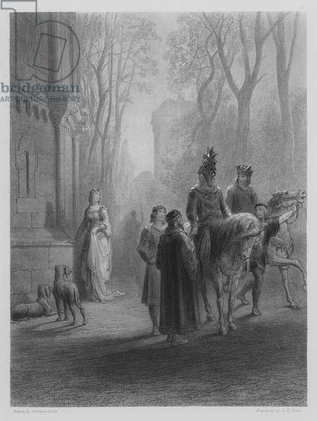 Lancelot bids adieu to Elaine (engraving)