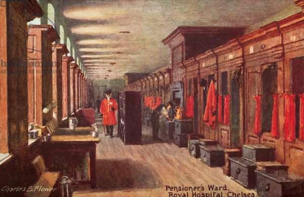 Pensioner's Ward, Royal Hospital, Chelsea (colour litho)