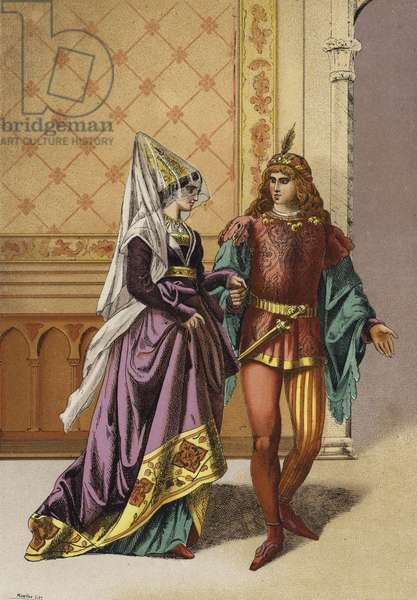 European noblewoman and minstrel, 15th Century (chromolitho)