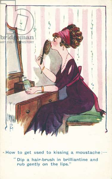 Woman using a hairbrush to practice kissing a man with a moustache (colour litho)