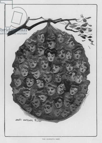 A Hornet's Nest - of attractive women (litho)