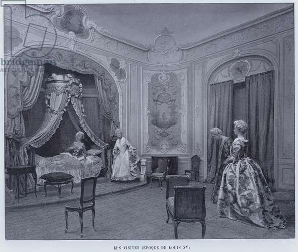 Les Visites, Epoque De Louis XV (b/w photo)