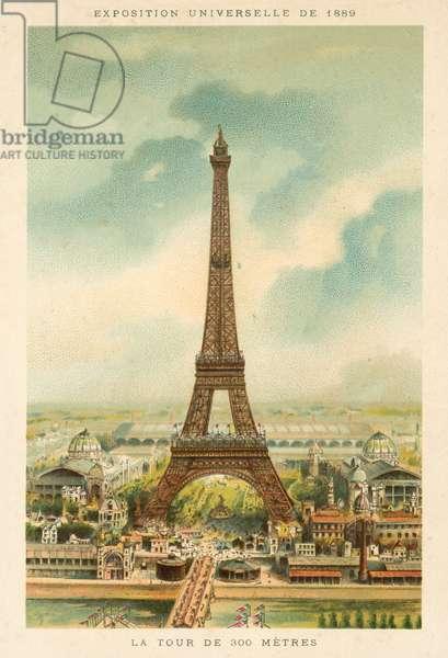 Eiffel Tower, Exposition Universelle 1889, Paris (chromolitho)