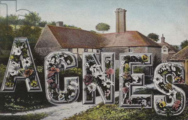 Agnes in surreal lettering (colour photo)