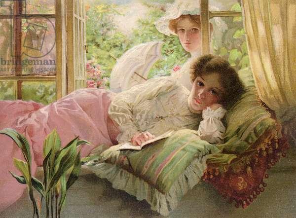 Mother's rest-time (colour litho)