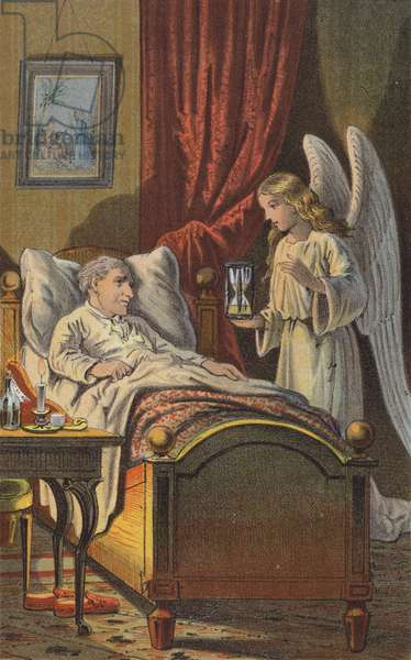 The Old Man and the Angel (colour litho)