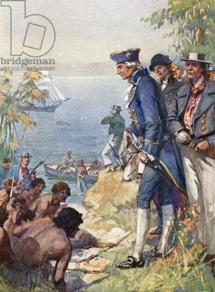 Captain Cook ashore at Tahiti, 1769 (colour litho)