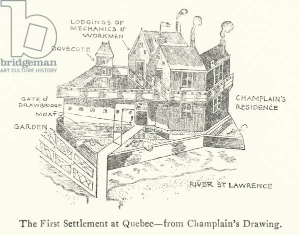 The first French settlement at Quebec, early 17th Century (litho)
