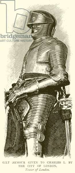 Gilt Armour given to Charles I. By the City of London (engraving)