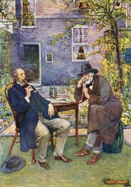 Carlyle (right) and Tennyson talking and smoking