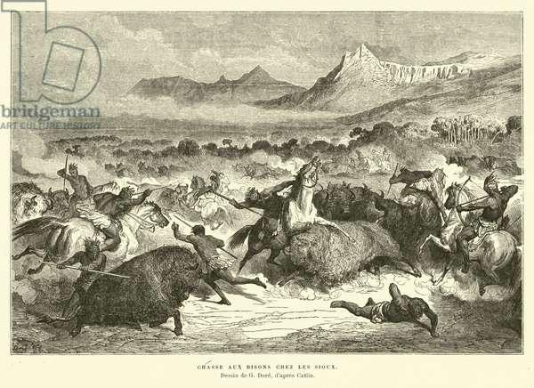 Sioux hunting buffalo (engraving)