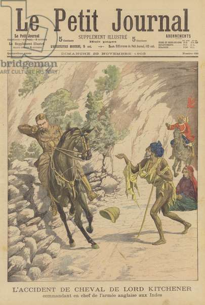 Lord Kitchener suffers a riding accident in India (colour litho)